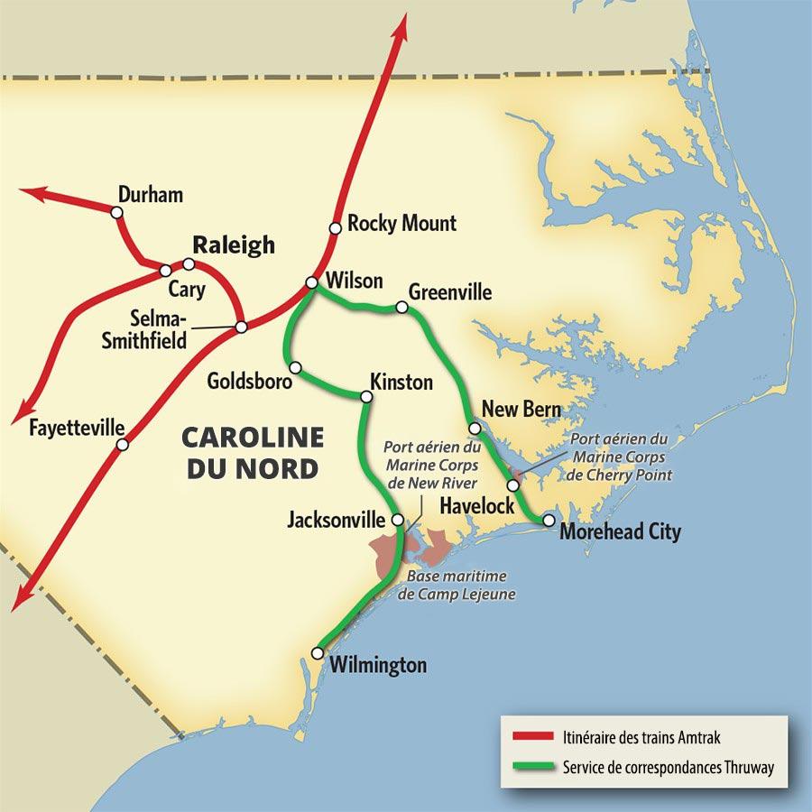 Vacances En Caroline Du Nord En Train Et En Autobus Thruway Amtrak