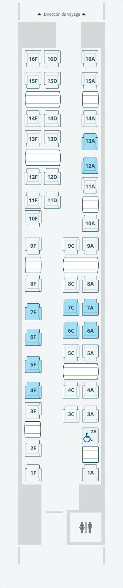 Diagramme des sièges en Première classe Acela